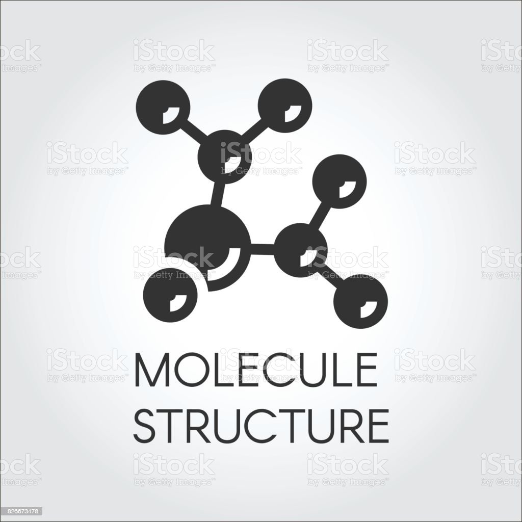 Icon in flat design of abstract molecular structure. Chemical compound black logo. Vector illustration vector art illustration