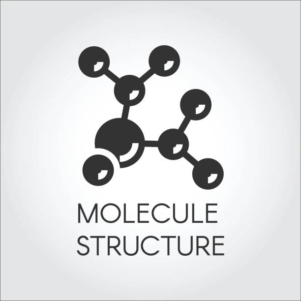 Icon in flat design of abstract molecular structure. Chemical compound black logo. Vector illustration Icon in flat design of abstract molecular structure. Chemical compound black logo. Vector illustration label hormone stock illustrations