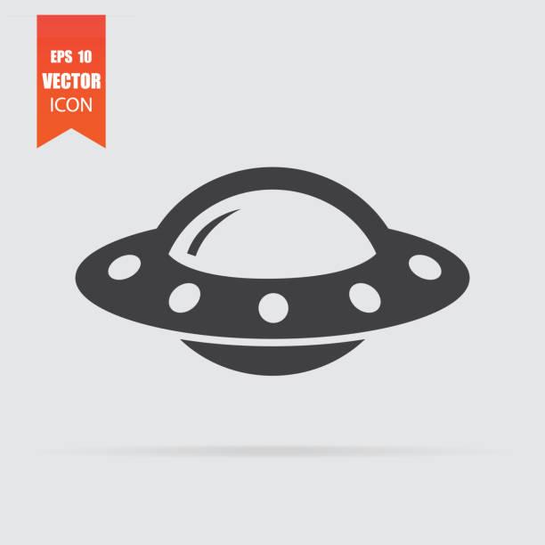 stockillustraties, clipart, cartoons en iconen met ufo pictogram in vlakke stijl geïsoleerd op een grijze achtergrond. - ufo