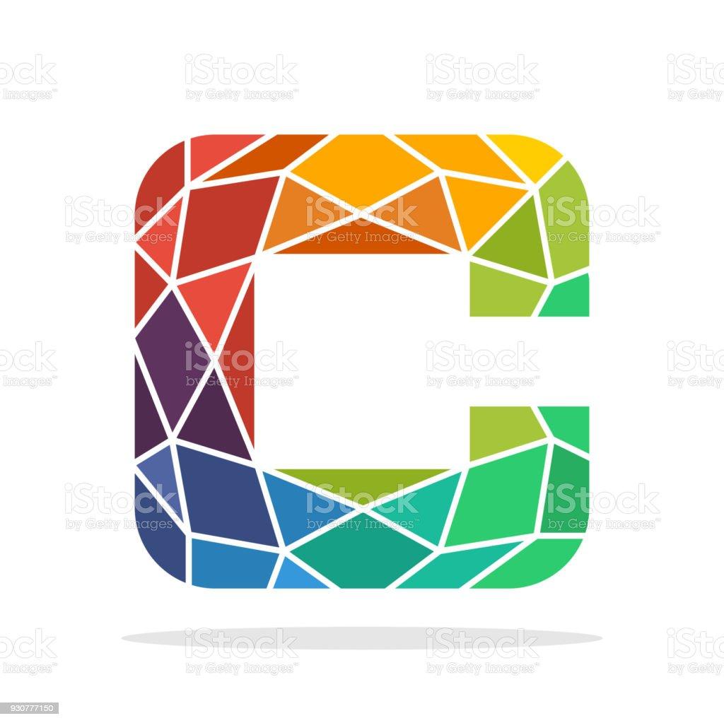 Symbol Anfangsbuchstaben C Mit Dem Konzept Der Bunten Mosaik Stil  Lizenzfreies Symbolanfangsbuchstaben C Mit