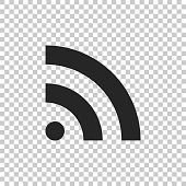 istock RSS icon isolated on transparent background. Radio signal. RSS feed symbol. Flat design. Vector Illustration 1154586087
