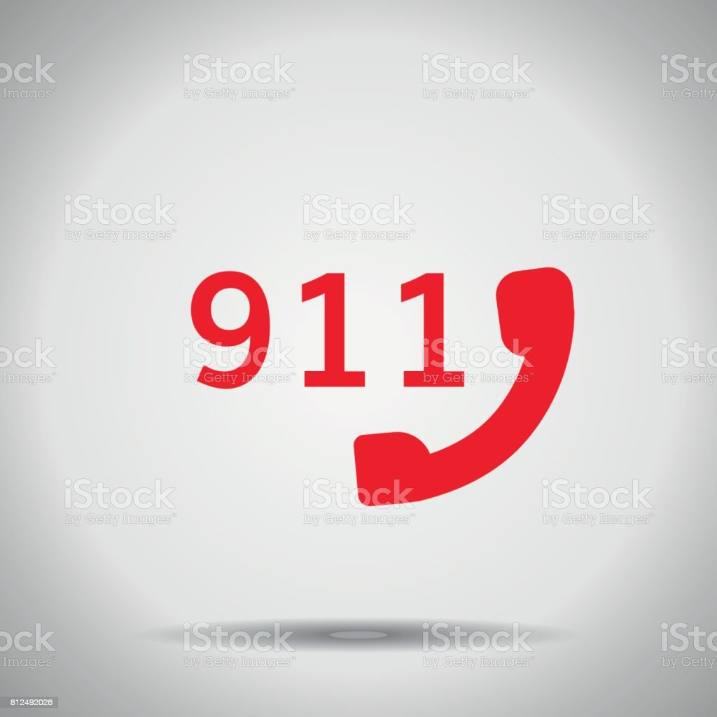 911 icon isolated with shadow vector art illustration