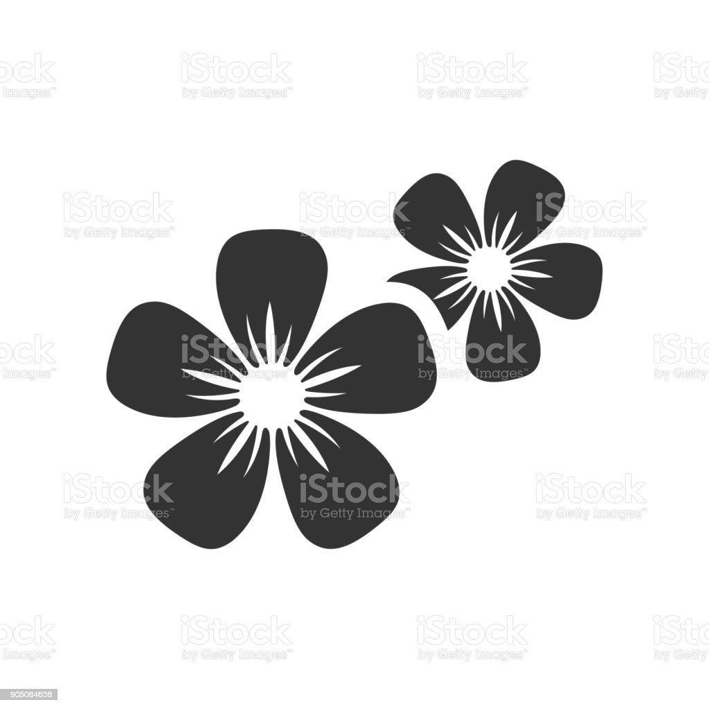 BW icon - Jasmine flowers vector art illustration