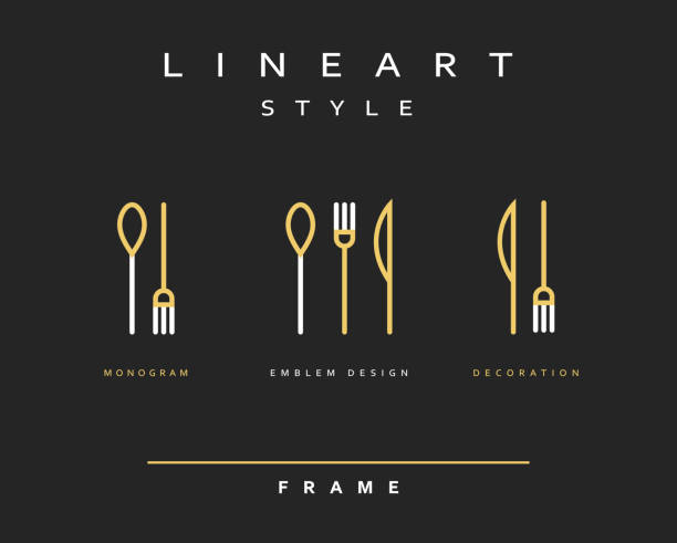 icon knife, fork and spoon - fine dining stock illustrations, clip art, cartoons, & icons