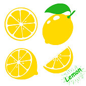 Icon lemon. Set fresh lemon fruits and slice. Isolated on white background. Vector illustrations