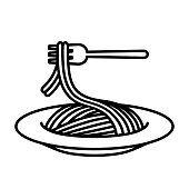 istock Icon lifting pasta with a fork 1293399641