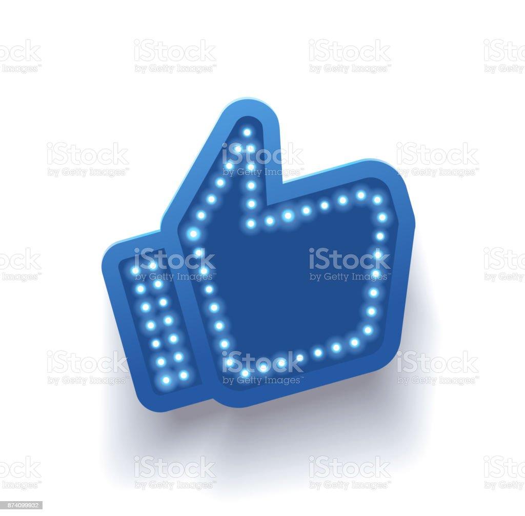 Icon Like Social Network Hand Big Finger Up On White Background I