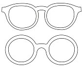 Icon line art poster man father dad day round glasses, spectacles set.