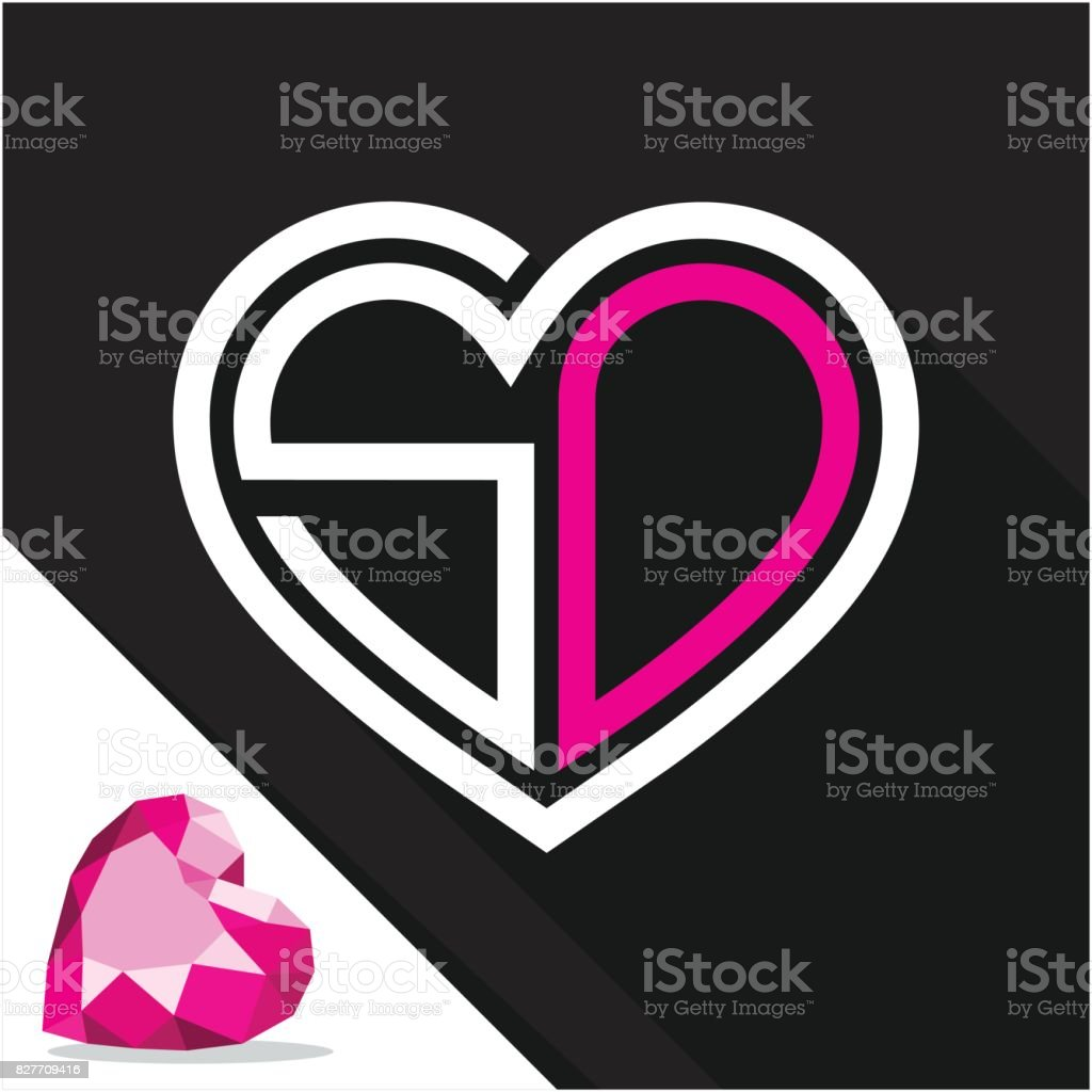Simge Logo Kalp şekli Baş Harfleri Kombinasyonu Ile S Ve D Harfi