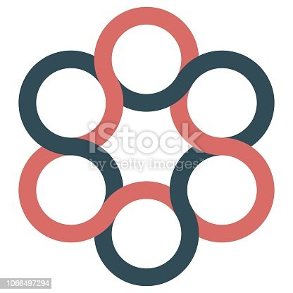 icon logo spinner, interlacing curved lines of stripes, vector logo of circles
