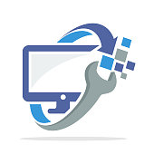 icon logo with the concept of computer repair and repair of television monitor