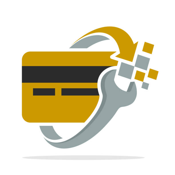 icon logo with the concept of credit card system recovery - credit card stock illustrations