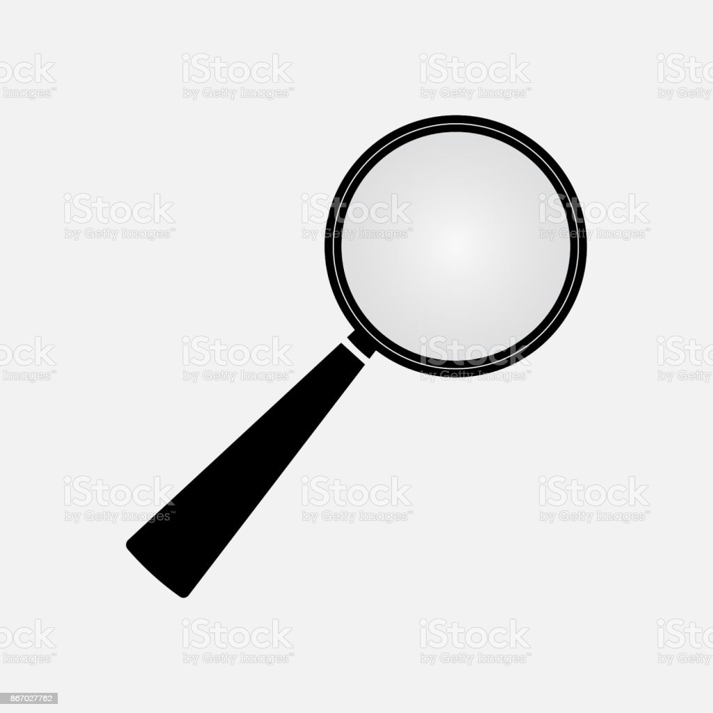 icon loupe magnification, black magnifying glass vector art illustration