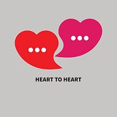 icon love chat. Two bubbles in the shape of heart. Icon of dialog, online communication. Vector illustration