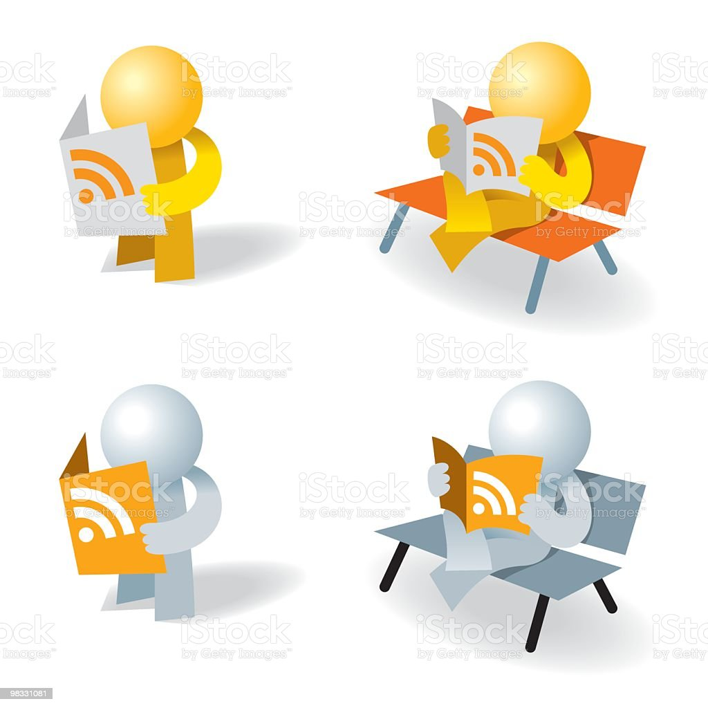 Icon man RSS reader royalty-free icon man rss reader stock vector art & more images of adult