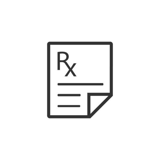BW icon - Medical prescription Medical prescription icon in single grey color. Medicine doctor healthcare rx stock illustrations