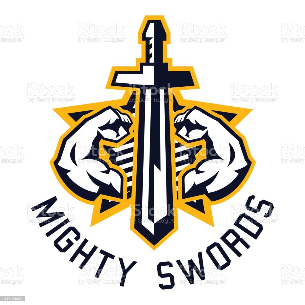 icon mighty swords. Muscular arms, sport and fitness. Vector illustration. Flat style vector art illustration