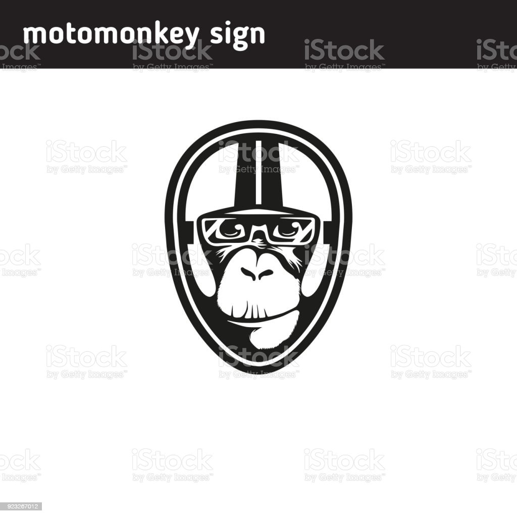 Symbol-Affen, die das Tragen eines Helmes - Lizenzfrei Alt Vektorgrafik