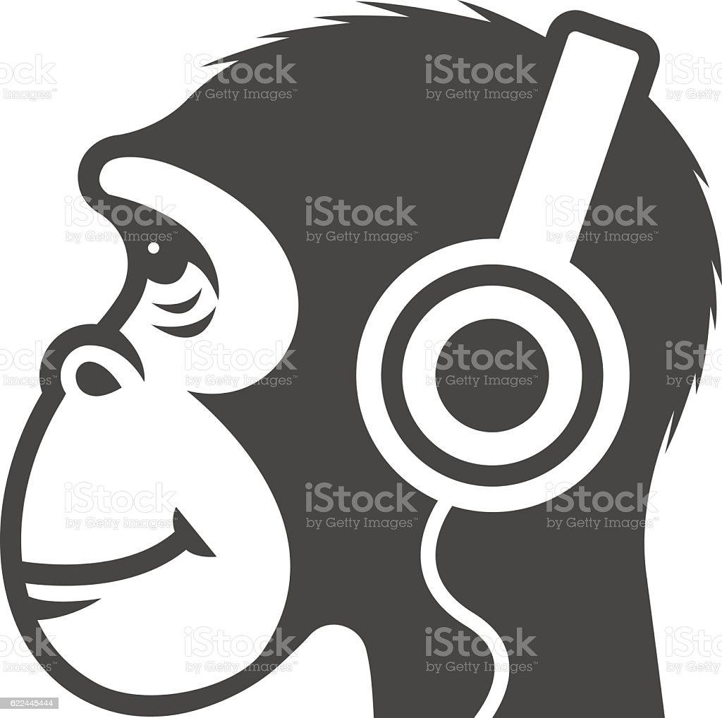 Icon monkey with headphones vector art illustration