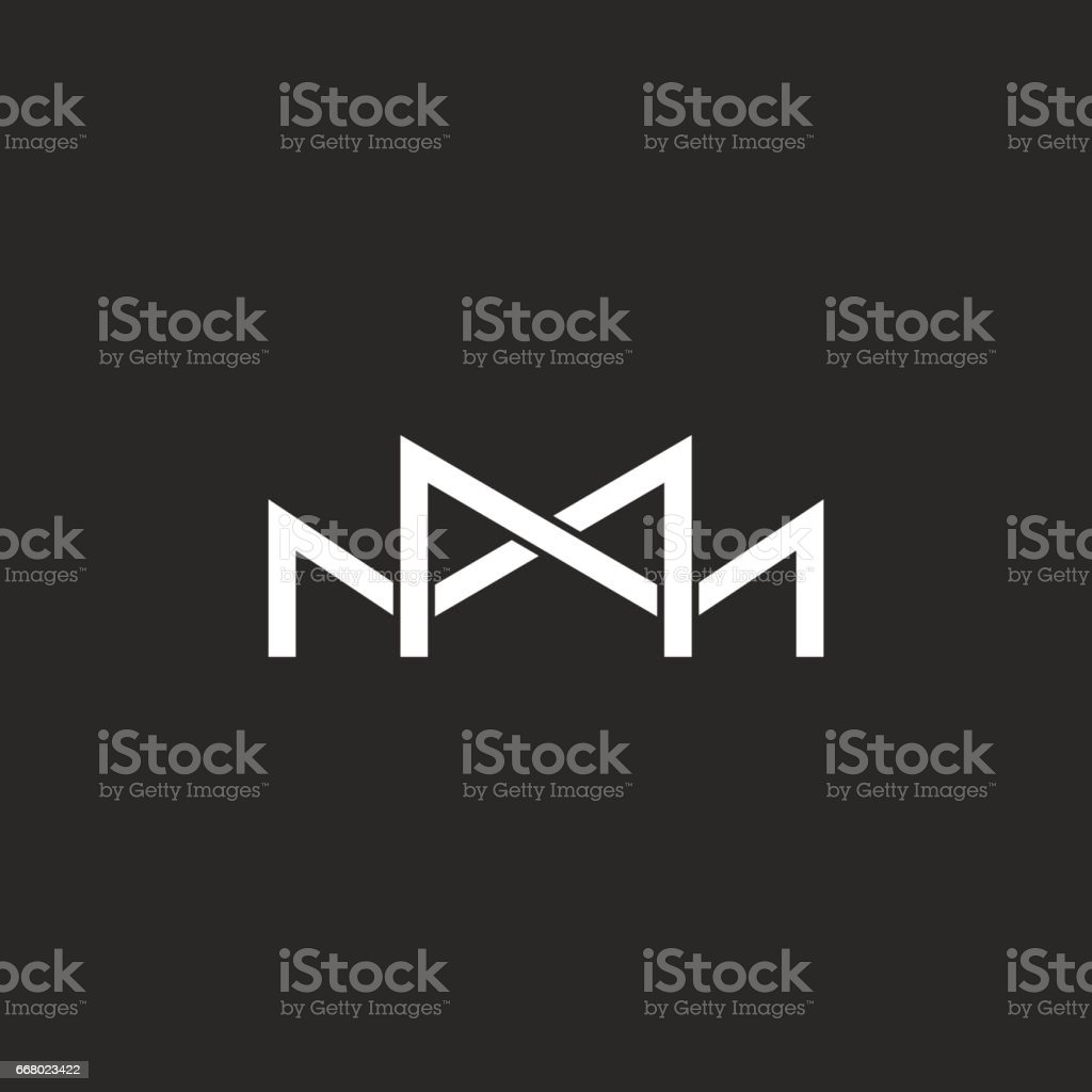 M icon monogram, two or three overlapping thin line letters, black and white mockup wedding invitation emblem vector art illustration