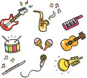 icon music instruments cartoon illustration elements