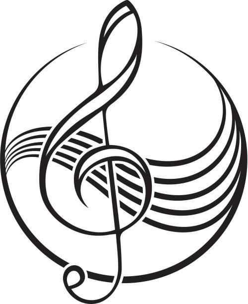 ikone der schwarzen violinschlüssel. - musiksymbole stock-grafiken, -clipart, -cartoons und -symbole