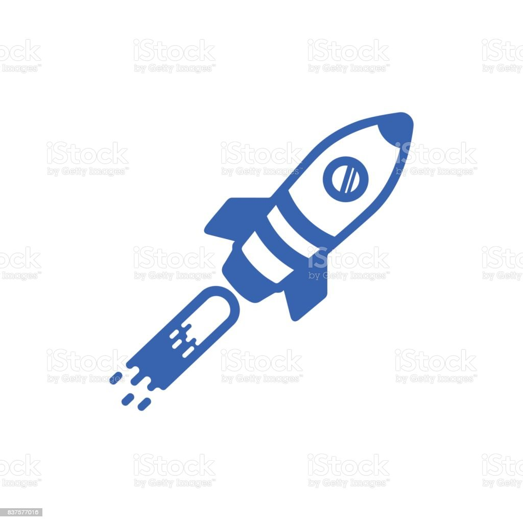 Icon of a blue rocket on a white background vector art illustration