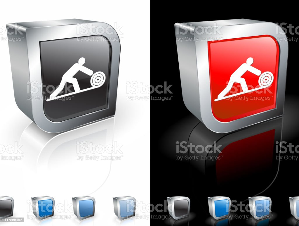 A 3-D icon of a carpenter at work in red and black. royalty-free stock vector art