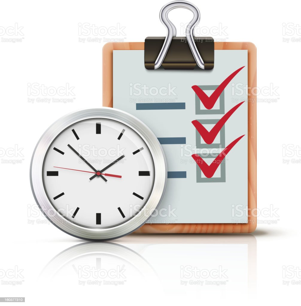 Icon of a clock and a clipboard with a checked list vector art illustration