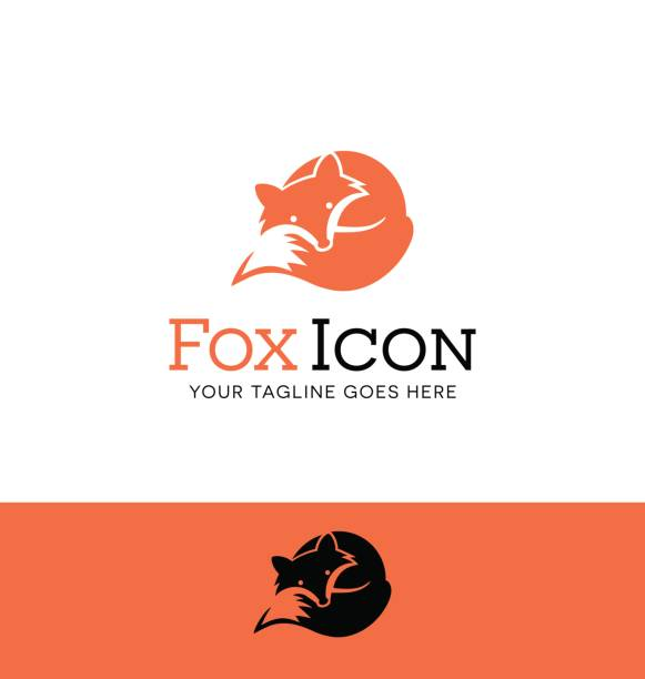 Icon of a curled up red fox vector art illustration