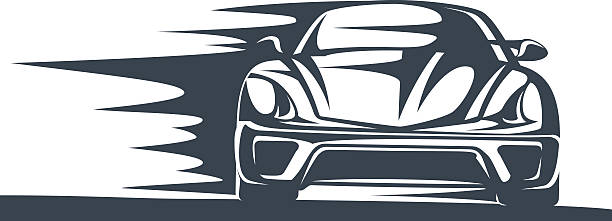icon of a fast racing car in motion - close up stock illustrations, clip art, cartoons, & icons