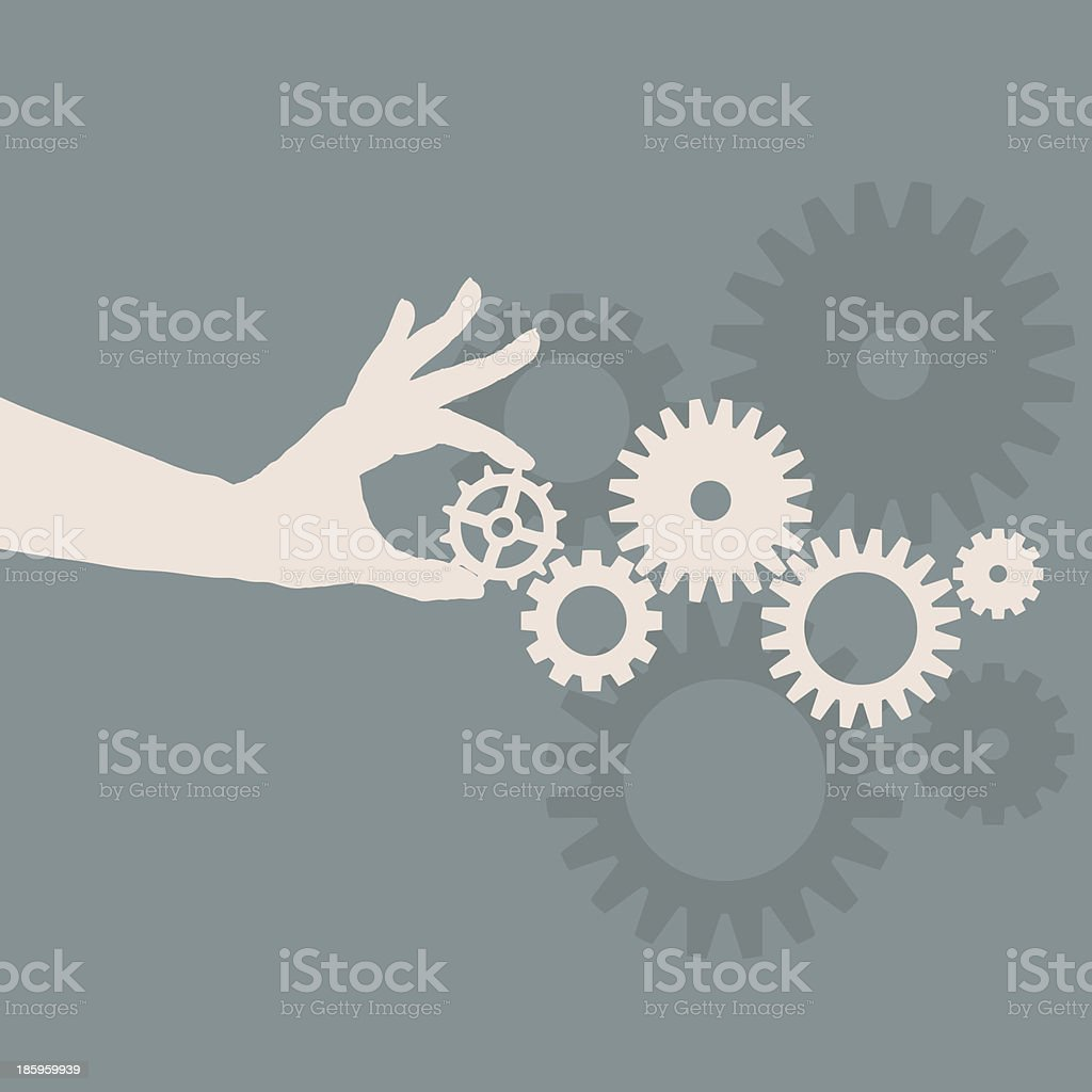 Icon of a hand playing with gears royalty-free stock vector art