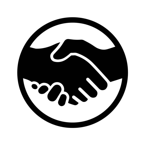 stockillustraties, clipart, cartoons en iconen met pictogram van een handdruk. vectorillustratie eps10 2 - shaking hands