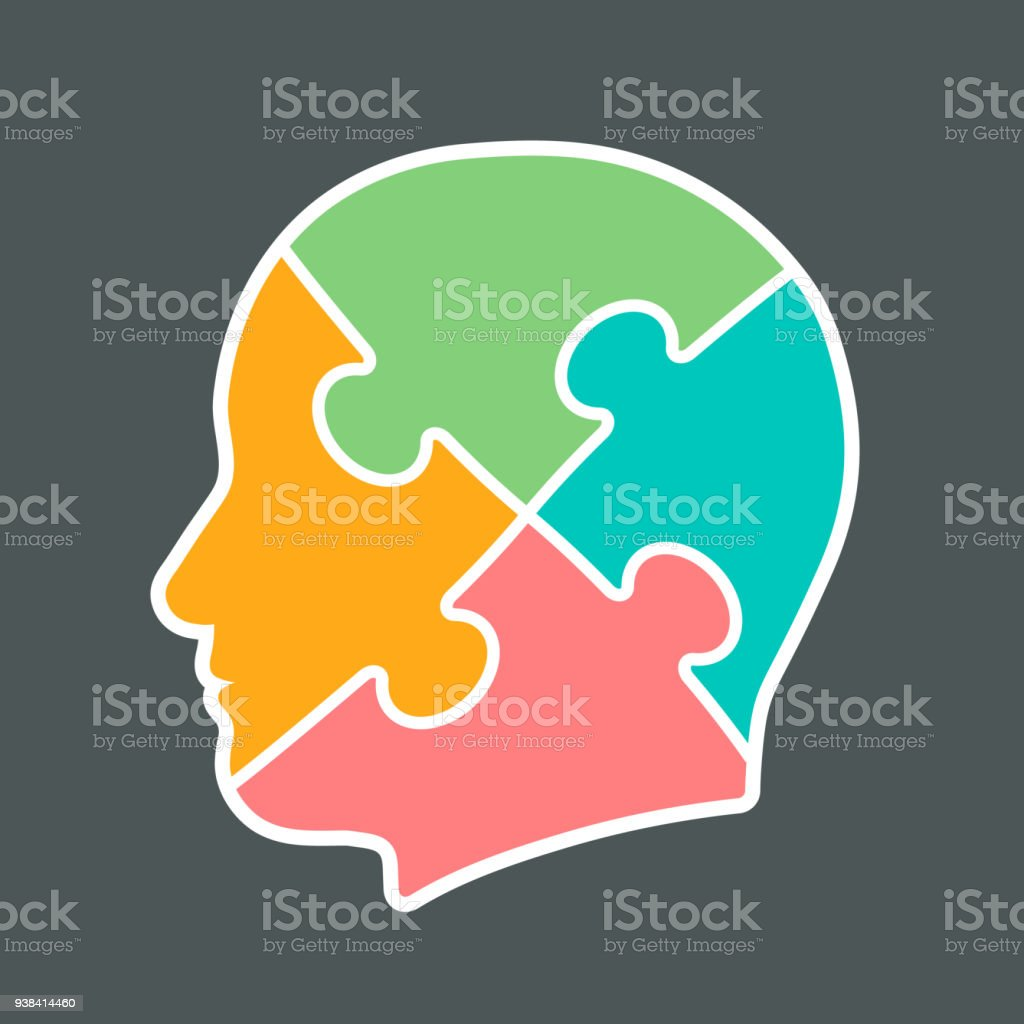 icon of a head cut into jigsaw puzzle pieces stock vector art more