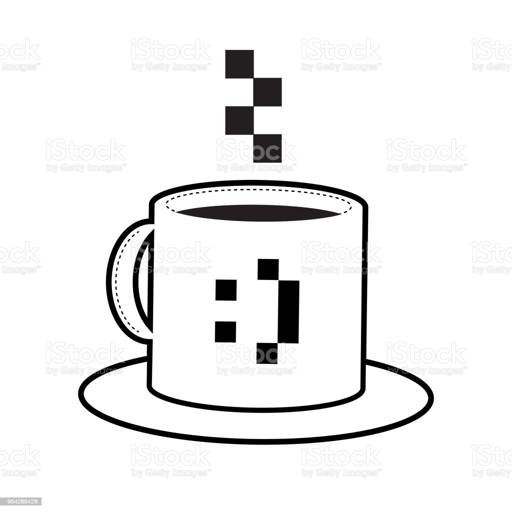 Icon Of A Mug With A Pixel Smiley Emoji With A Pixel Smoke