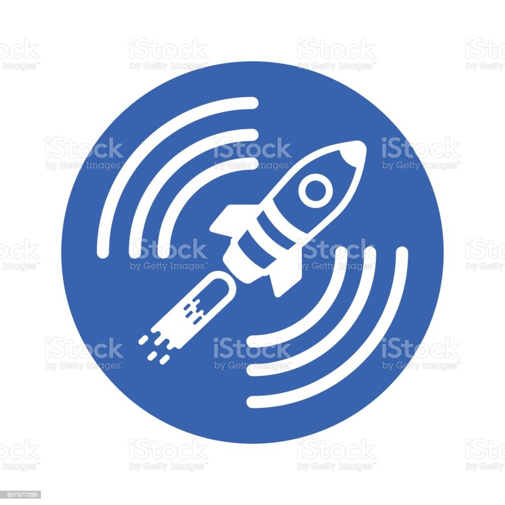 Icon of a satellite rocket in a blue circle on a white background vector art illustration
