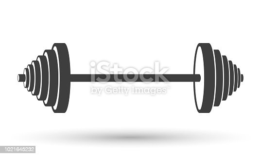 Icon of a sports dumbbell. Vector on white background