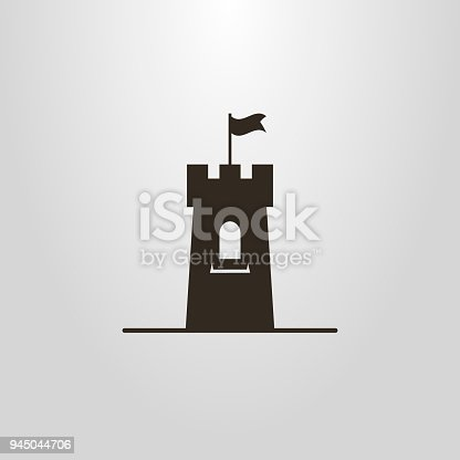 istock icon of a tower with a flag 945044706