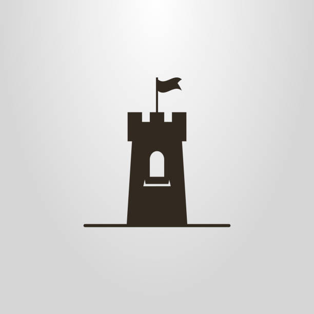 icon of a tower with a flag - castle stock illustrations
