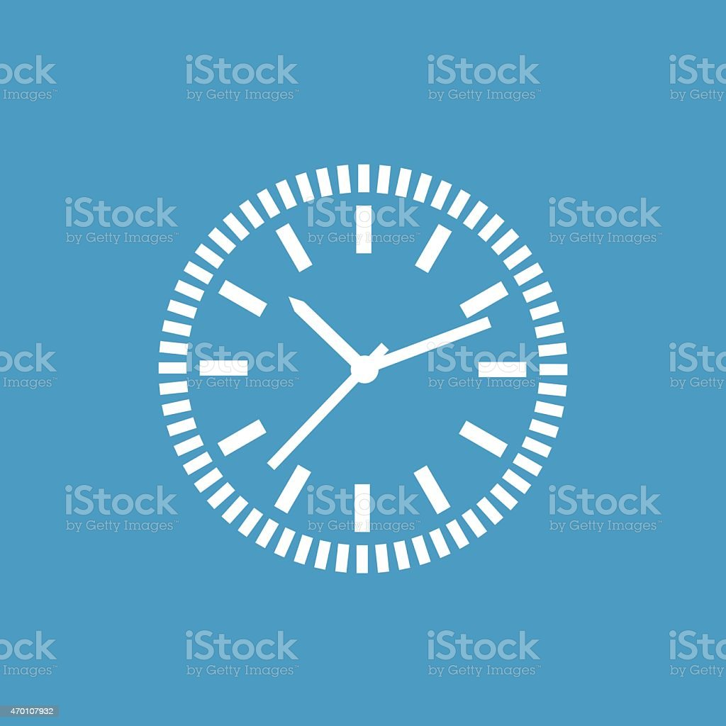 Icon of a white analog clock on a blue background vector art illustration