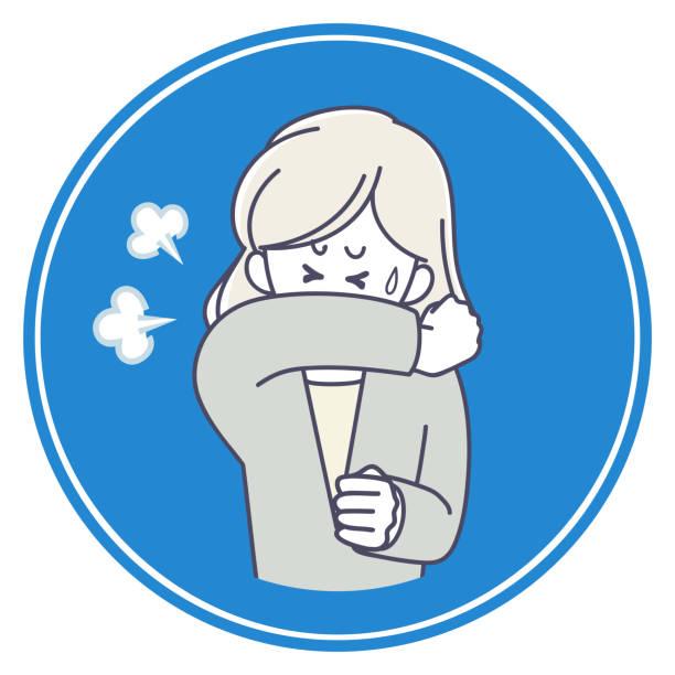 口に袖を持って咳をしている女性のアイコン - くしゃみ 日本人点のイラスト素材/クリップアート素材/マンガ素材/アイコン素材