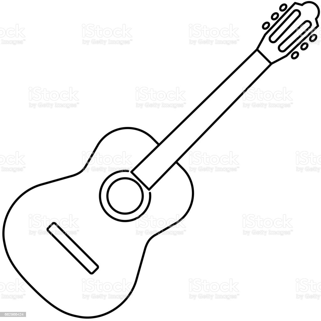 Icon Of Acoustic Guitar Icon Black Contour On White Background Of