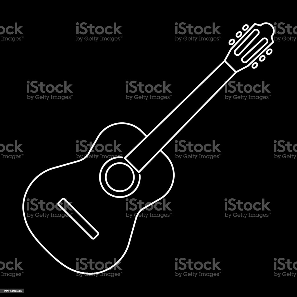 Icon Of Acoustic Guitar Icon White Contour On Black Background Of