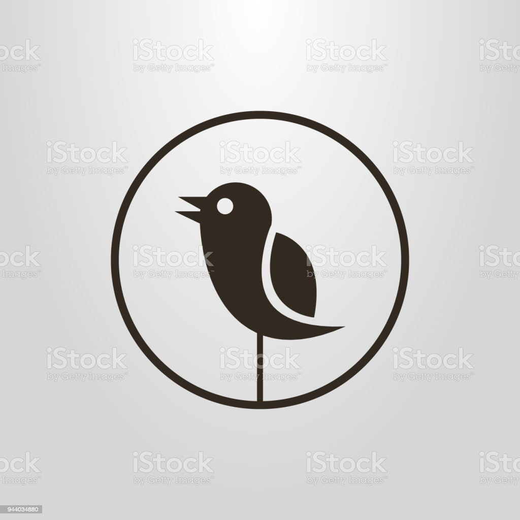 icon of an abstract bird in a round frame vector art illustration