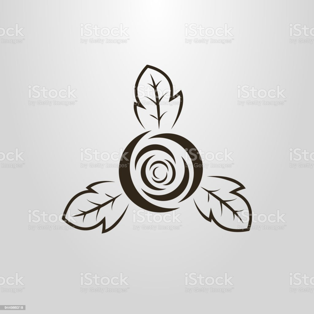 icon of an abstract rose bud vector art illustration