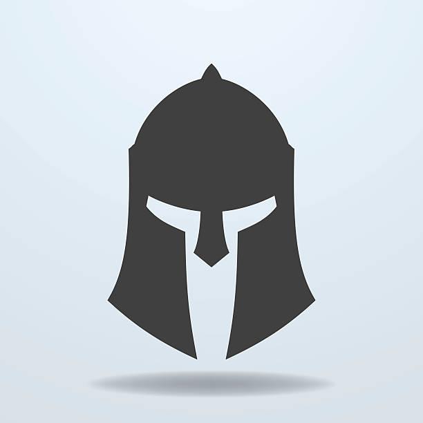 symbol der antiken griechischen und römischen, spartan helm. - sportschutzhelm stock-grafiken, -clipart, -cartoons und -symbole