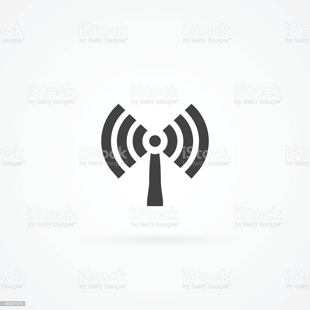 Icon of antenna broadcasting wireless signal. vector art illustration