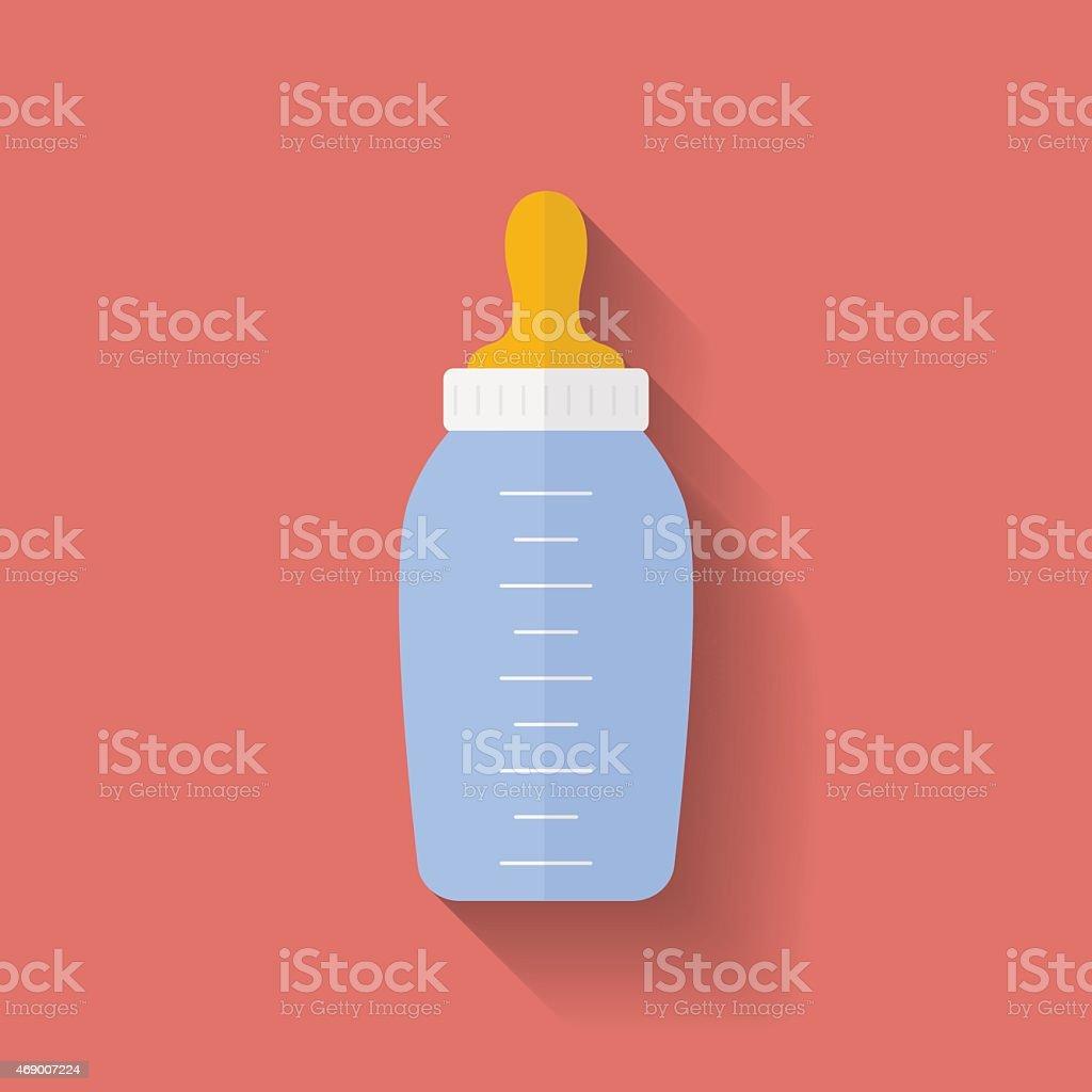 Icône de bouteille de bébé. style appartement - Illustration vectorielle