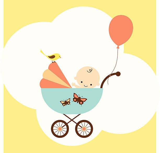 Icon of baby boy in stroller with balloon Vector illustration of a happy baby boy in stroller. baby carriage stock illustrations
