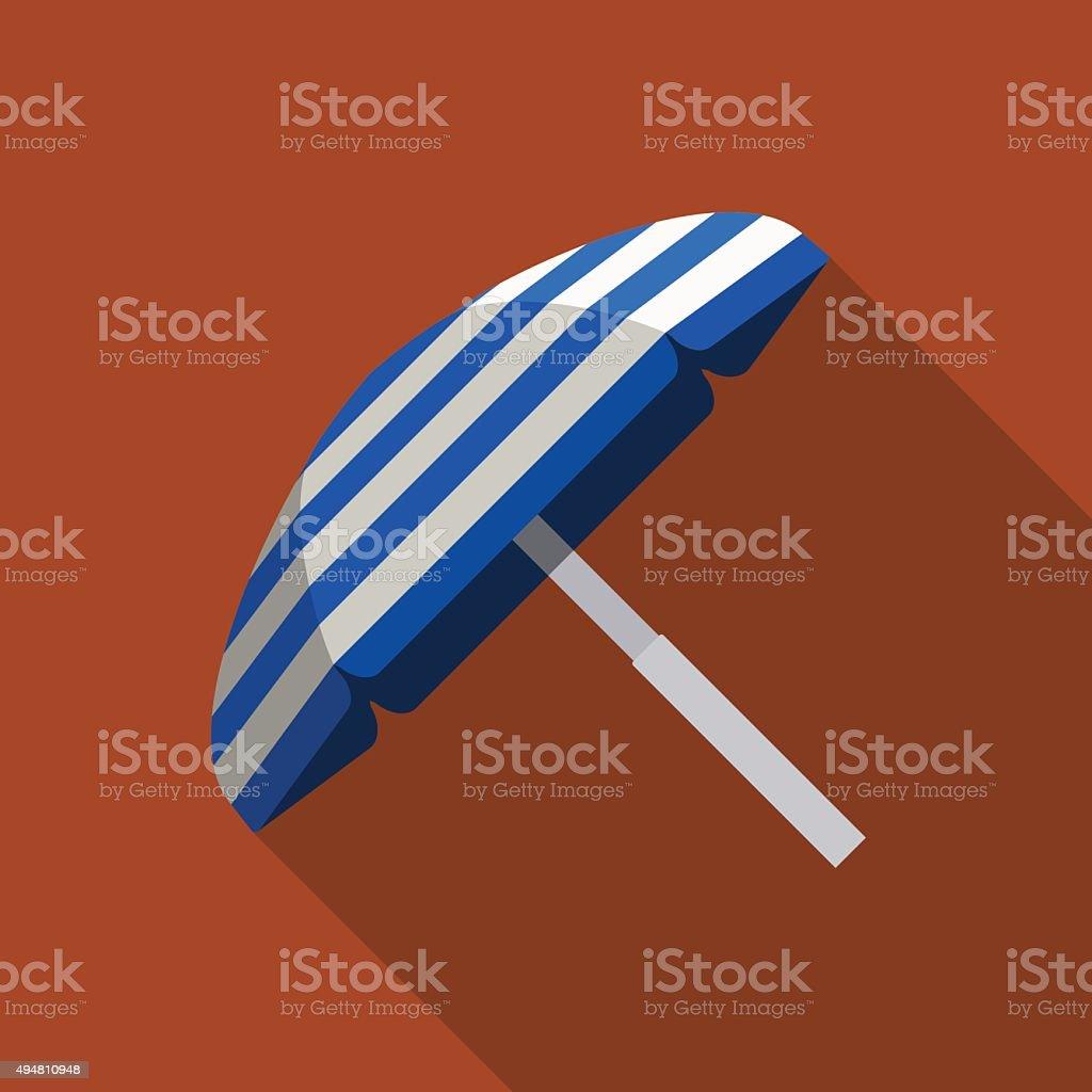 icon of beach umbrella in flat design vector art illustration